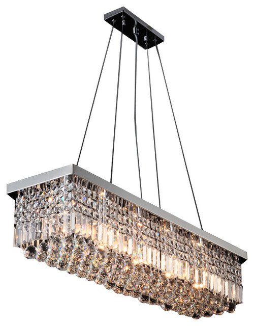 New Contemporary Rectangular Crystal Chandelier Modern