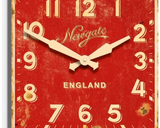 newgate - Ministry Wood Wall Clock - Barn Light Electric - Inspired by vintage enamel signage once found in stations and shops, this large wall clock was specifically designed to look antique and aged. This square red clock is bound to make a statement in any home, office or shop.