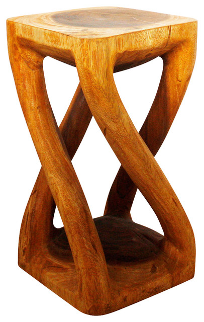 Vine Twist Stool 12 x 12 x 22 inch H Sustainable Wood w Eco Friendly Oak Oil Fin eclectic-bar-stools-and-counter-stools