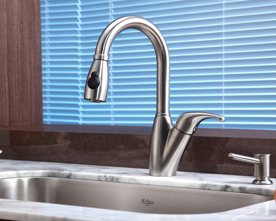 Kraus Single Lever Kraus Stainless Steel Pull Out Kitchen Faucet KPF-2121 - •	Update the look of your kitchen with this multi-functional Kraus pull-out faucet