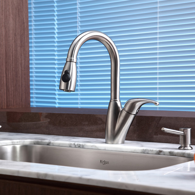 Kraus Single Lever Kraus Stainless Steel Pull Out Kitchen Faucet KPF-2121 kitchen-faucets