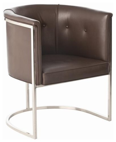 Arteriors Calvin Top Grain Polished Nickel Chair in Brown Leather traditional-accent-chairs