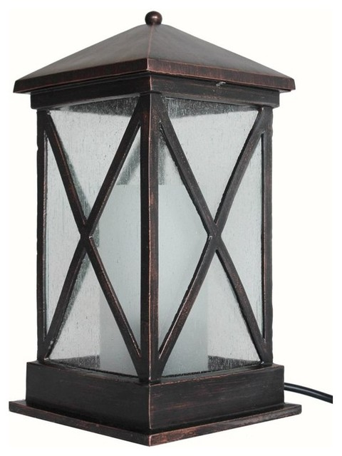 Allen Roth 15 Inch Oil Rubbed Bronze Outdoor Table Lamp Traditional Out