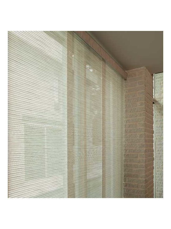 Levolor - Levolor Panel Track Blinds: Lemongrass Stripe & Tweed Rattan - Bring contemporary flair to larger windows with Levolor panel track blinds.  Lemongrass Stripe & Tweed Rattan material filters the light and frames your view beautifully.