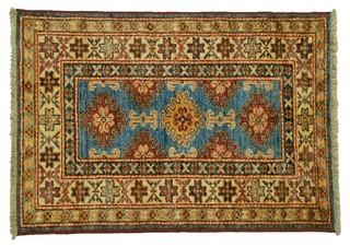 Super Kazak Oriental Rug, 2'X3' 100% Wool Tribal Design Hand Knotted ...