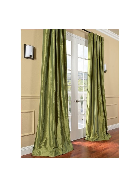 HPD's Exclusive Fern Faux Solid Taffeta Silk Curtains & Drapes -