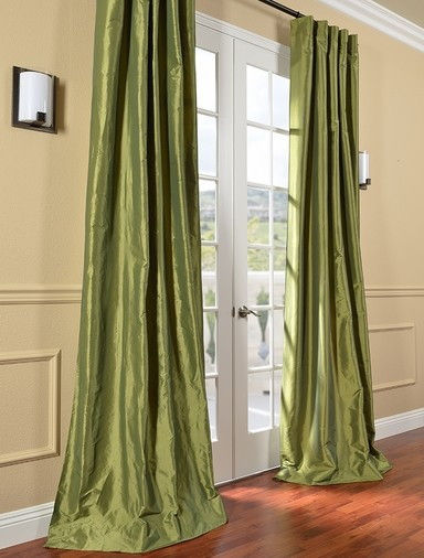 HPD's Exclusive Fern Faux Solid Taffeta Silk Curtains & Drapes contemporary-curtains