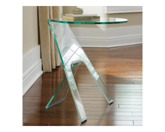 Grandin Road - Journey Side Table - Simple, yet chic, architectural design actually resembles a work of art. Space-saving proportions means this table adds an enlightened touch in spaces large or small. Handmade of clear, semi-tempered glass. Clearly unique, the Journey Side Table blends beautifully into almost any interior design scheme.  .  .  .