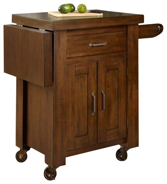 home styles cabin creek kitchen cart with side drop leaf in distressed chestnut transitional. Black Bedroom Furniture Sets. Home Design Ideas