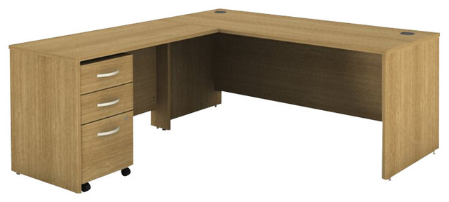 Bush Series C 3-Piece L-Shape Computer Desk in Light Oak transitional-desks-and-hutches