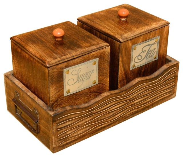 Sugar & Tea Wooden Canister & Tray Set - Rustic - Food ...