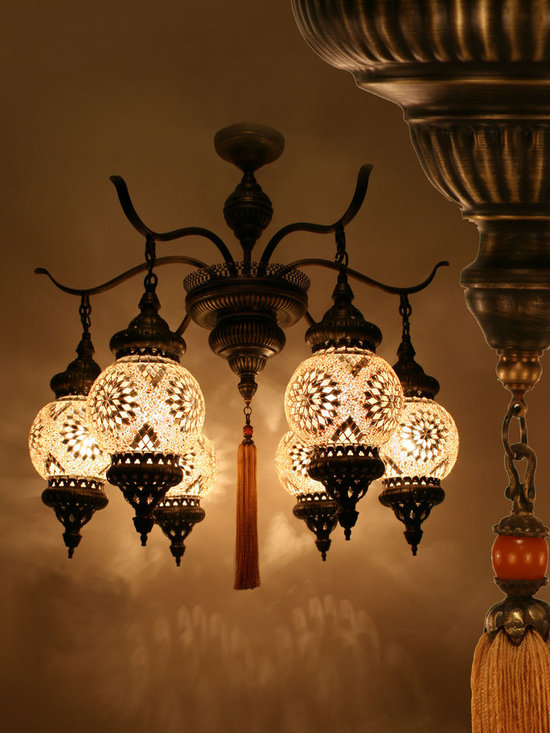 Ottoman Style Authentic Chandelier w/6 Arm - Decorative Mosaic Glass Turkish Style Pendant Ligting