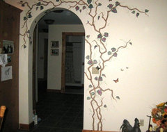 Vine and Butterfly Mural on Arched Doorway traditional