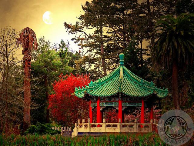 Chinese Pavilion Under Golden Moonlight artwork