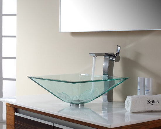 "Kraus C-GVS-901-19mm-14600CH Clear Aquamarine Glass Vessel Sink and Sonus Faucet - APPLY COUPON CODE ""EDHOUZ30"" AT CHECKOUT. JUST OUR WAY OF SAYING THANKS."
