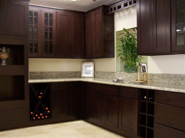 beech espresso Kitchen Cabinets Home Design - traditional ...