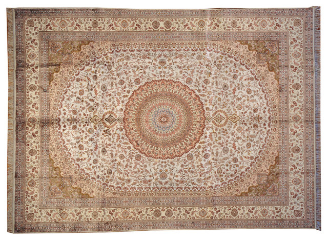 Ivory Tabriz Hand Knotted Rug Silken Soft Colors Sh7294 traditional-rugs