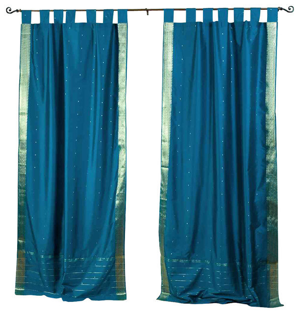 Pair of Turquoise Tab Top Sheer Sari Cafe Curtains, 43 X 24 In. traditional-curtains