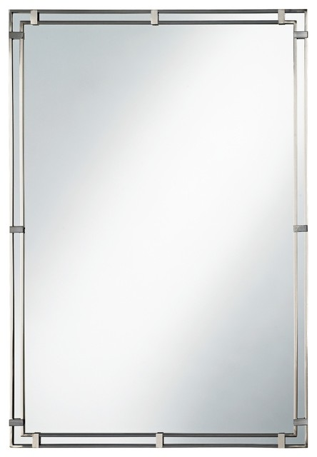 Feiss Parker Place Brushed Steel Wall Mirror contemporary-mirrors