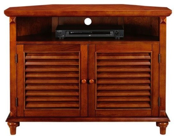 ... Louvered-Door Corner TV/DVD Cabinet - Traditional - Filing Cabinets