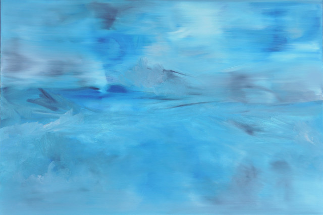 FREE Original Oil Painting by Michele Morata BLUE ABSTRACT MODERN ART beach-style-paintings
