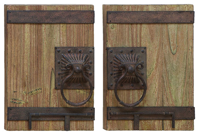 Wall Decor of Ancient Door With Iron Handles traditional-artwork