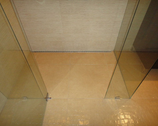 Continuous Floor Tile in Modern Shower -