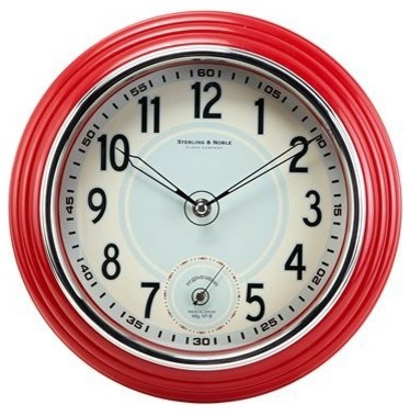 Retro Kitchen Wall Clock, Red traditional-clocks