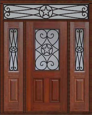 Prehung sidelights transom door 80 fiberglass austin texas for Exterior doors austin tx