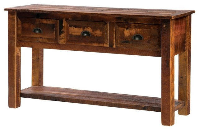 barnwood 3 drawer console table w shelf contemporary. Black Bedroom Furniture Sets. Home Design Ideas