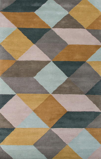 Hand tufted geometric pattern wool gray yellow area rug for Geometric print area rugs