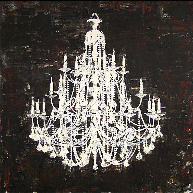 Chandelier White and Black II Canvas Art Contemporary