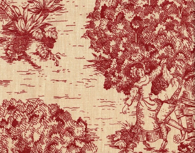 """24"""" Tailored Tiers, Lined, Toile Crimson Red traditional-curtains"""