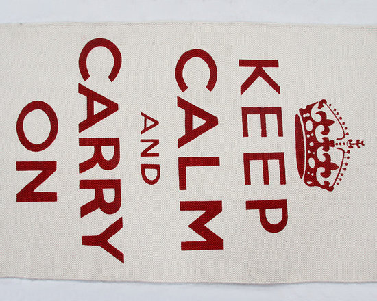 Keep Calm and Carry On Cotton Printed Rug - Keep Calm and Carry On rugs available in two sizes and two colours by Homescapes are a quick way to uplift any room with this classic British slogan. Block printed (by hand) on a hand woven 100% cotton base. It's a sturdy hand woven rug,