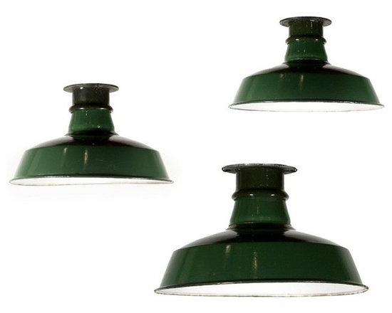 Antique & Vintage Industrial Lighting - Three matching antique industrial flush mount lights with green enamel and white porcelain shades. Salvaged from a factory in St. Louis, each light fixture features a simple, flat fitter and a fabulous shade with the original green enamel exterior and white porcelain interior. Item NC1419. Price listed is for each light fixture; please check website for current availability.