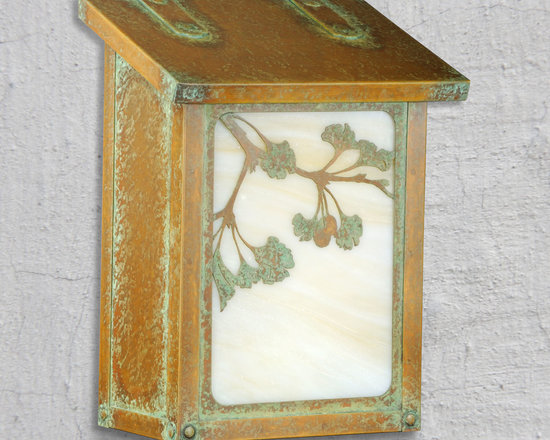 Ginkgo Tree Vertical Wall Mounted Mailboxes - The unique shape of the Ginkgo leave and branch sweep across the front of this mailbox from America's Finest. Select one of our many hand applied patina finishes and complete the design with a beautiful piece of art glass to create the sky background. Handmade of solid brass this vertical design of this mailbox is perfect for mounting in a narrow space. It has a traditional hinge detail on the lid and a rubber bumper inside to eliminate any noise when closing. The corner rivets complete the design and give this mailbox it's rugged handcrafted look. Easy to mount and a wonderful addition to your front entry this Ginkgo mailbox design will be a delight for years to come. As with all America's Finest products it carries our lifetime warranty.