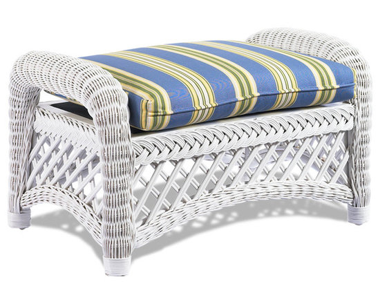 WickerParadise - White Wicker Ottoman - Lanai - If you've got a lounge chair, you need an ottoman; after all, what's lounging if you can't put your feet up? This white wicker ottoman with its cheerful, striped blue cushion has a light and breezy feel that's perfect for a tropical sunroom, a nautical style cottage sitting room or a covered patio lounge area.