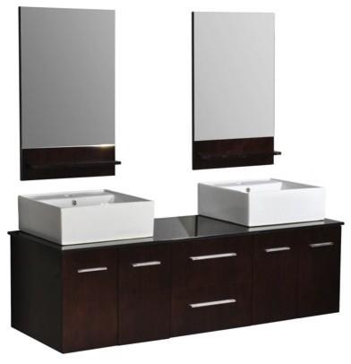 Belmont Decor Dw1d4 60 Skyline Double Vessel Sink Vanity Bathroom Vanities And Sink Consoles
