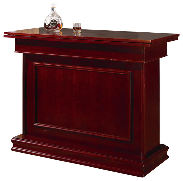 Coaster Mitchell Home Bar Unit With Storage Game Table In Cherry Transitional Wine And Bar