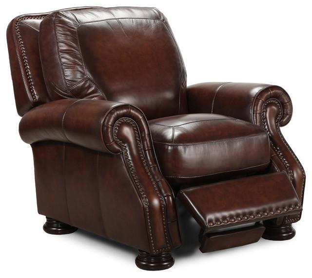 Simon Li Traditional Brown Leather Recliner