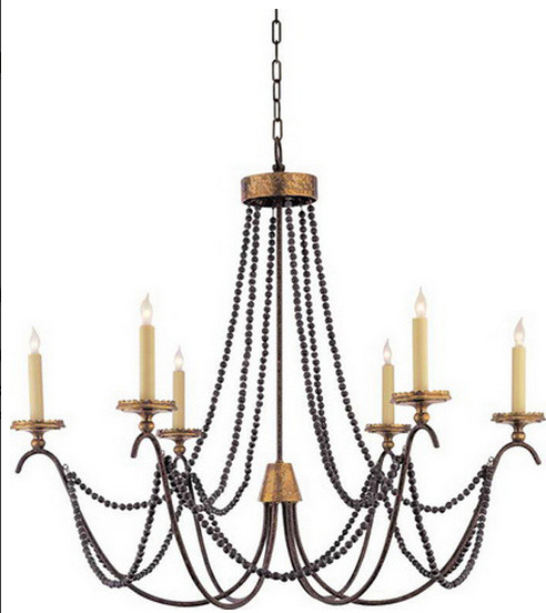 Marigot Six Light Chandelier With Wood Beads Traditional