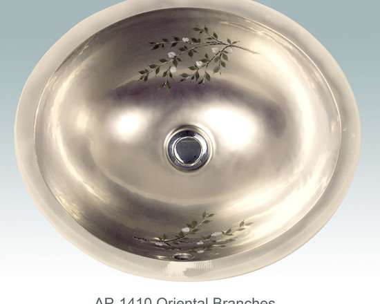 "Hand Painted Undermounts by Atlantis Porcelain - ""ORIENTAL BRANCHES"" Shown on AP-1410 white Monaco Small undermount 15-3/4""x12-3/4""available on bright or burnished gold and bright or burnished platinum on any of our sinks."