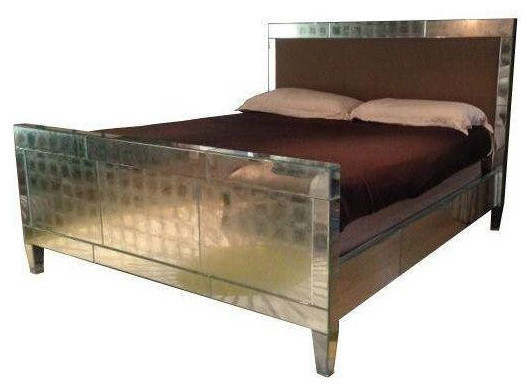 Ironies Upholstered King Bed with Antiqued Mirrors