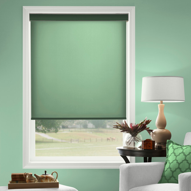 Laura Ashley Roller Shades in Dark Green - Traditional - Roller Shades - houston - by Blinds.com