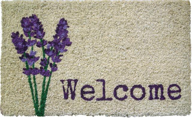 Lavender Welcome Handwoven Coconut Fiber Doormat traditional-doormats
