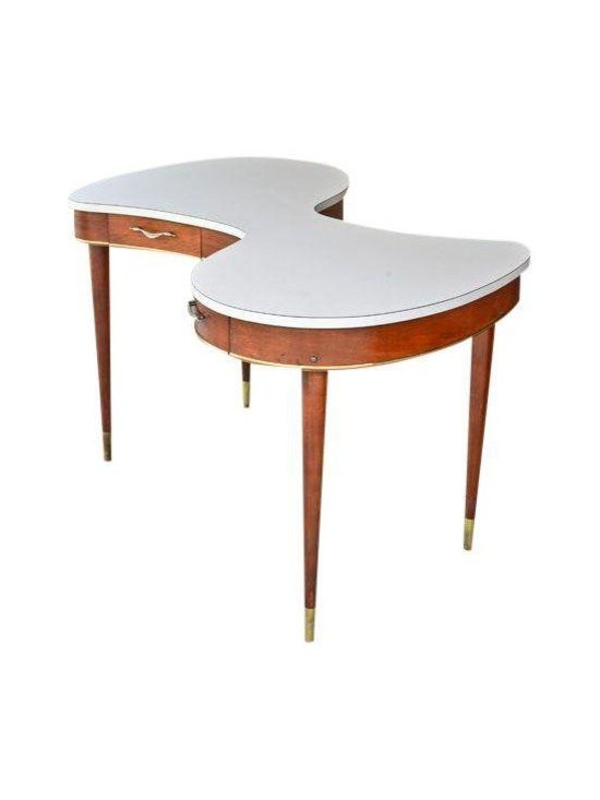 Pre-owned Vintage Amoeba Shaped Partners Desk - A very fun, very unusual amoeba shaped partners desk. The top is a durable white laminate. The rest of the desk is done in walnut with brass accents. It is all original and in nice condition. The chairs are shown for context only and are not included.