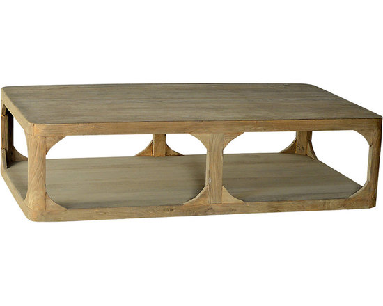 Boston Large Coffee Table - With a rustic matte finish that appears as though the wood were left untreated, this footless coffee table presents a large top and lower shelf for open storage and display. Three vertical supports on each long side are bolstered with charming curved side supports, lending to the table's handmade look. Ideal for a chic country home - or as an eclectic piece to soften rugged industrial d�cor - this large coffee table makes for a wonderful gathering place.