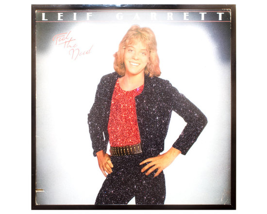 "Glittered Leif Garrett Album - Glittered record album. Album is framed in a black 12x12"" square frame with front and back cover and clips holding the record in place on the back. Album covers are original vintage covers."