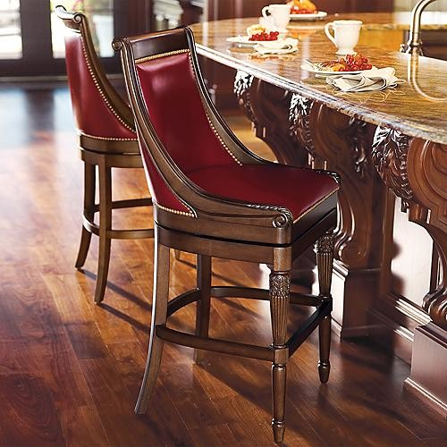 """Kent Bar Height Bar Stool (30""""H seat) - Ox Blood Leather (Quick Ship) traditional-bar-stools-and-counter-stools"""