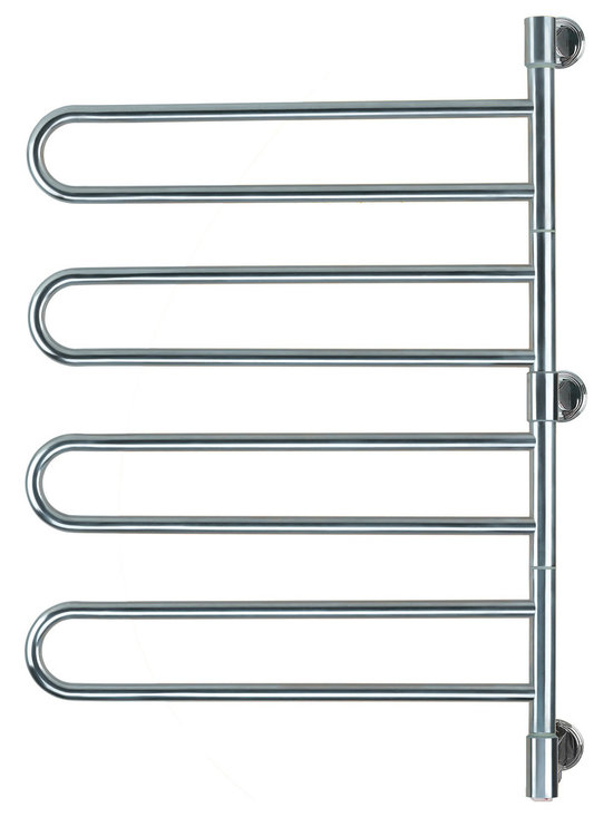 Hudson Reed - Swivel Electric Plug In Heated Towel Rail 25 x 37 Brushed & Polished - The Swivel towel warmer by Amba is a stylish and efficient way to keep your towels warm and dry.  Providing ample storage for all the family towels, this towel rail features four rounded arms with two bars in each, which can be moved back and forth to keep towels conveniently to hand.    This electric towel warmer has a great heat output of 72 Watts (246 BTUs) which will ensure towels are dry and cosy in minutes. It can also be used to dry and warm clothes and other garments.  Powered by electricity, this towel warmer is simple and easy to use. It has a unique and contemporary design which makes a stunning addition to any bathroom suite, and is available in a choice of brushed or polished chrome finish.  This model measures 25 x 37 and has a depth of 3.9.  For your peace of mind, this towel warmer comes with a two year warranty.   Swivel Electric Heated Towel Rail 25 x 37 Brushed & Polished Details:  Dimensions: (H x W x D) 37 x 25 x 3.9  Output: 72 Watts (246 BTUs)  Number of bars: 8   Suitable for bathroom, guest bathroom, kitchen etc.  2 year warranty